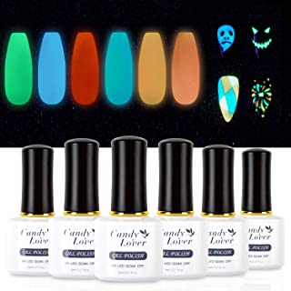 Candy Lover Fluorescent Gel Nail Polish, 6 Colors Glow in the Dark Selected Bright Halloween Night Party Set - UV LED Soak Off Dramatic Nail Gel Polish Night Party Varnish Kit