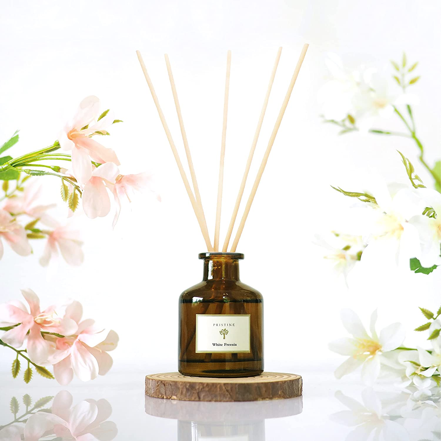 Reed Diffuser for Home & Bathroom | Refreshing Freesia Fragrance Diffuser | Home Fragrance Products | Scented Oil Diffuser Sticks | Reed Diffuser Set | Scented Sticks Diffuser - Home Scent Diffuser