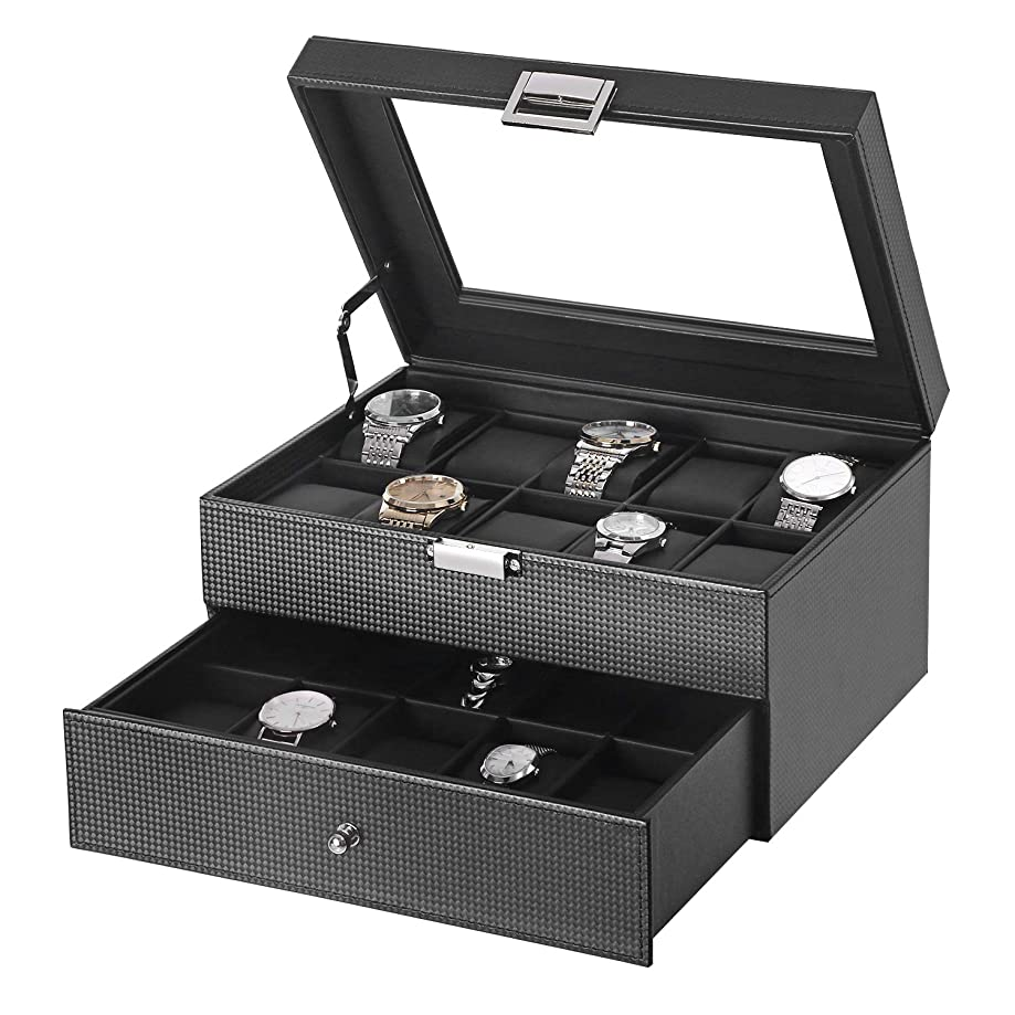 BEWISHOME Watch Box Organizer 20 Men Display Storage Case Metal Hinge Carbon Fiber Design Glass Top Large Holder Black SSH04C