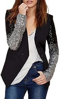 Auxo Damen Langarm Herbst Paillette Business Slim Outwear Blazer Cardigan Oberteil Tops