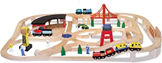 Melissa & Doug Wooden Railway Set (Vehicles, Construction, 130 Pieces)
