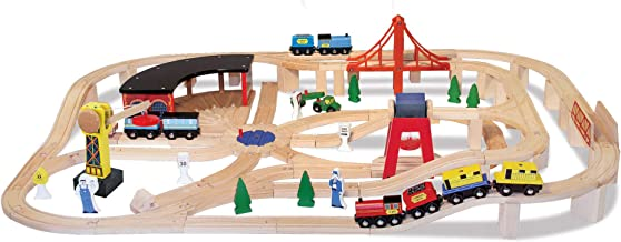 Melissa & Doug Wooden Railway Set (Vehicles, Construction, 130 Pieces)
