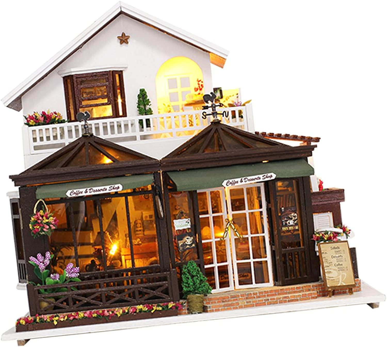 Baoblaze 1 24 Scale DIY Handcraft Miniature Project Kit Wooden Dolls House Model Coffee Shop Style Home Display Decor Gift