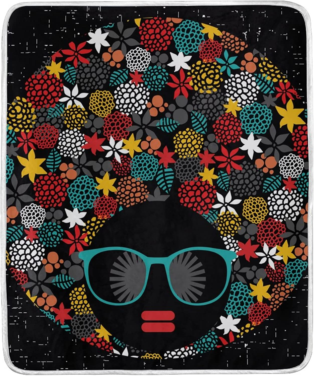 ALIREA Hippie Black Head Woman with Strange Hair Super Soft Warm Blanket Lightweight Throw Blankets for Bed Couch Sofa Travelling Camping 60 x 50 Inch for Kids Boys Girls