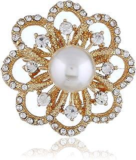 Europa e America Fiore di Natale Diamante Diamante Tridimensionale Spilla tridimensionale retrò in lega squisita perla flo...