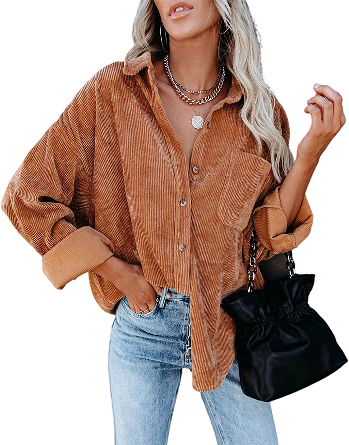 Melliflo Womens Corduroy Jacket Button Down Shirts Oversized Causal Long Sleeve Blouses Tops with Pockets