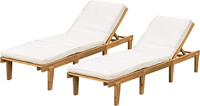 Christopher Knight Home Outdoor Pool/Deck Furniture, Teak Chaise Lounge Chairs with Cushions (Set of 2)