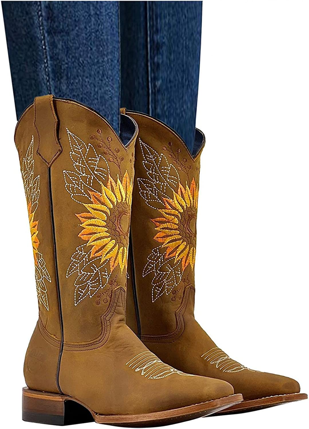 AIHOU Ankle Boots for Women Slip On Floral Embroidered Platform