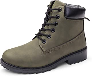DADAWEN Women's Lace Up Low Heel Work Combat Boots...