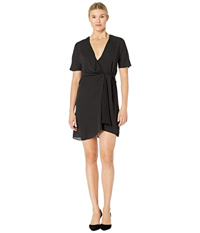 American Rose Clara Short Sleeve Wrap Dress (Black) Women