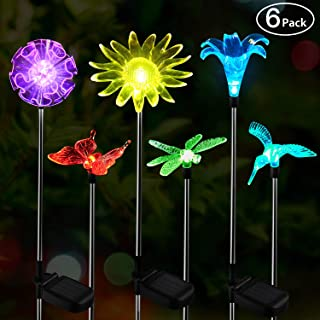 OxyLED Solar Garden Lights Outdoor, 6 Pack LED Figurine Stake Light, Color Changing Landscape Lighting, Flower Lights Solar Powered Waterproof for Patio Lawn Yard Pathway Halloween Christmas Decor