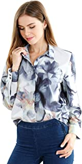 Esabel.C Womens Button Down Shirts Long Sleeve Regular Fit Cotton Stretch Work Blouse - White - Large