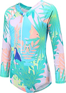 Girls One Piece Swimsuits Long Sleeve Rash Guard Swimshirt for Kids UPF 50+ Sun Protection Bathing Suit 3-16 Years