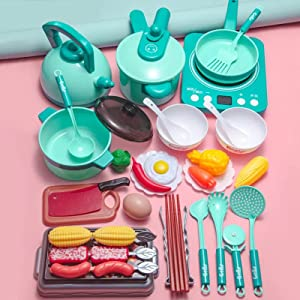 Pretend Play Kitchen Toy with Cookware Steam Pressure Pot and Electronic Induction Cooktop, Cooking Utensils, Toy Cutlery, Cut Play Food, Shopping Basket Learning Gift for Girls Boys