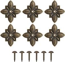 DOITOOL 6 Sets Vintage Ijzer Gesneden Onlay Applique Center Bloem Applique Doos Voeten Hoekbeschermers Met Push Pins Voor ...