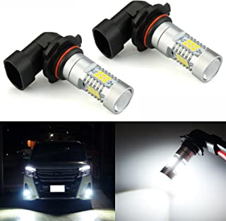 JDM ASTAR 2520 Lumens Extremely Bright PX Chips 9006 LED Fog Light Bulbs with Projector for DRL or Fog Lights, Xenon White