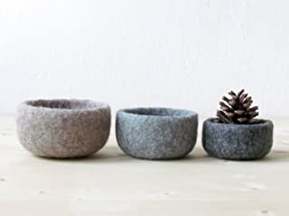 3 Wool nesting bowls - Felted bowl - Organic eco-friendly - ombré beige - minimalist decor