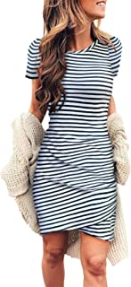 Women's 2020 Casual Crew Neck Short Sleeve Ruched Stretchy Bodycon T Shirt Short Mini Dress