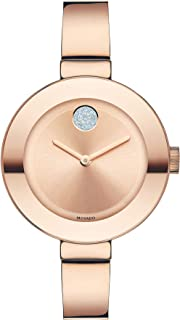 Movado Women's Bold Bangles Rose Gold Watch with a Flat Dot Sunray Dial, Gold/Pink (Model 3600202)