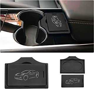 LFOTPP Tesla Model 3 Center Console Key Card Holder & Cards Sleeve Silicone Key Chain, Set of 2,Combined Package,Stop Card Sliding (Black)