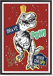 EzPosterPrints - Awesome Dinosaurs T-Rex Posters - Skater Racer Trex Jurassic Games Poster Series Wall Art Print for Home Kidsroom Decor - Brave RED - 12X18 inches