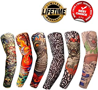 Tattoo Arm Sleeves 6PCS Fake Temporary Arm Tattoo Cover Up Sleeves Body Art Arm Stockings Slip Accessories for Men Women Designs Tribal, Crown Heart,Dragon, Skull Unisex Stretchable Cosplay Accessorie