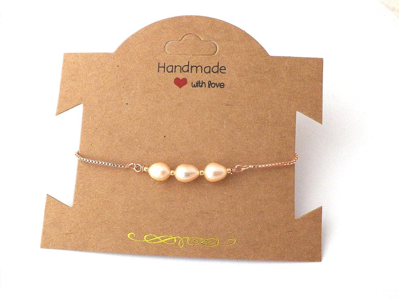 Bride Rose Gold Pearl Bracelet, bolo bracelet, natural freshwater pearls, adjustable bracelet