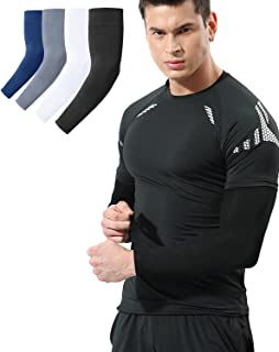 Newbyinn 2 & 4 Pair Arm Sleeves for Men Women Youth, Cooling UV Sun Protection, Compression, Tattoo Cover Up