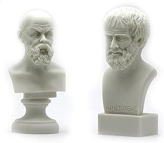 SOCRATES & ARISTOTLE Greek Philosopher Bust Head Set Statue Sculpture