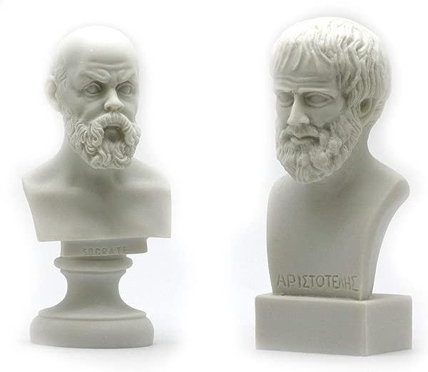 Socrates Aristotle Greek Philosopher Bust Head Set Statue Sculpture