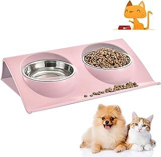 WELLXUNK® Cuenco del Gato, Tazón para Mascotas, Antideslizante Gato Cuenco, Cuencos Dobles para Gatos, Comedero para Gatos...