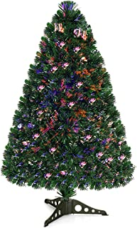 Goplus Artificial PVC Christmas Tree Pre-Lit Fiber Optic Tree (3 FT)