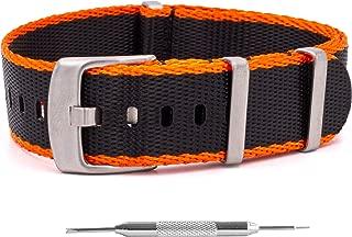 "NATO Watch Band – Pro Series Ballistic Nylon ""Seat Belt"" Style Strap + Spring Bar Tool - 20mm & 22mm - 6 Colors"
