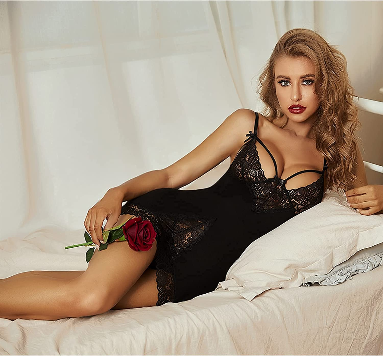 Avidlove Women Chemises Lingerie Lace Babydoll Sleepwear Sexy Full Slips Mini Dress S-XXL