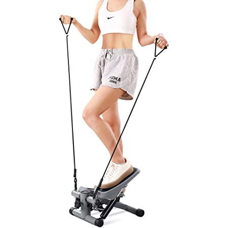 MaxKare Mini Fitness Stepper for Exercise Stepper with Resistance Bands Aerobic Motor Adjustable Portable Hydraulic Cylinder LCD Display Weight Capacity Use by Adult & Kid & Teenager