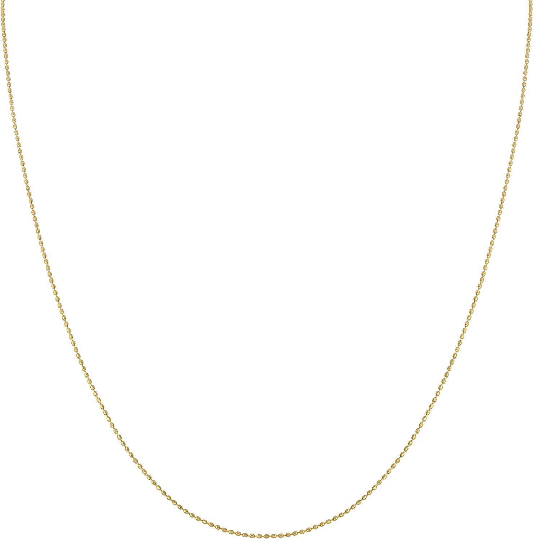 Kooljewelry 14k Yellow Gold 0.8 mm Diamond-Cut Bead Ball Chain Necklace (16, 18, 20, 24 or 30 inch)