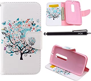 Motorola Moto G (3rd Generation) Case Wallet, iYCK Premium PU Leather Flip Carrying Magnetic Closure Protective Shell Wallet Case Cover for Moto G3 with Kickstand Stand - Butterfly Floral Tree