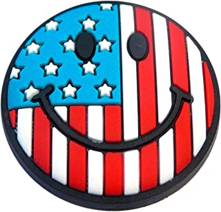 USA Flag Smile Shoe Charm for Wristbands and Shoes