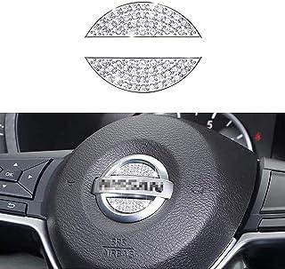 LECART Bling Steering Wheel Emblem Sticker for Nissan Altima Armada Frontier Maxima Pathfinder Rogue Sentra Titan Versa Xterra Cube Leaf NV200 Crystal Car Steering Wheel Logo Decal Stickers