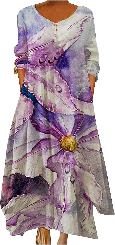 Dresses for Women Retro Tshirts Dress Loose Tunic Dress Long Sleeve Ruffle Floral Printed Casual Swing Shift Dress