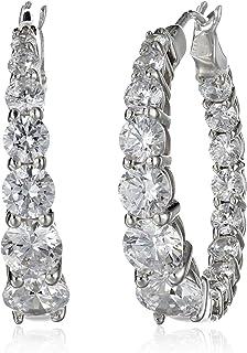 """Platinum or Gold-Plated Sterling Silver Swarovski Zirconia Graduated Hoop Earrings, 1"""" Diameter"""