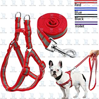The DDS Store 7 Colors Nylon Reflective Dog Harness Leash Lead Set for Small Medium Dogs Puppy (Puppy Small, Black)