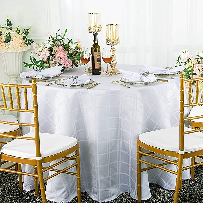 Wedding Linens Inc 90 Inch Round Plaid Checkered Jacquard Polyester Tablecloths Table Cover Linens For Restaurant Kitchen Dining Wedding Party Banquet Events White