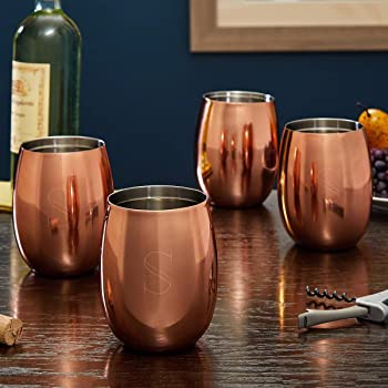 Ambrose Engraved Copper Wine Glasses, Set of 4 (Personalized Product)