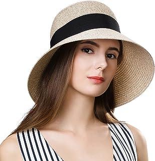 Jeff & Aimy Womens UPF 50 Summer Straw Beach Sun Hat Wide Brim Fashion Fedora Packable & Adjustable