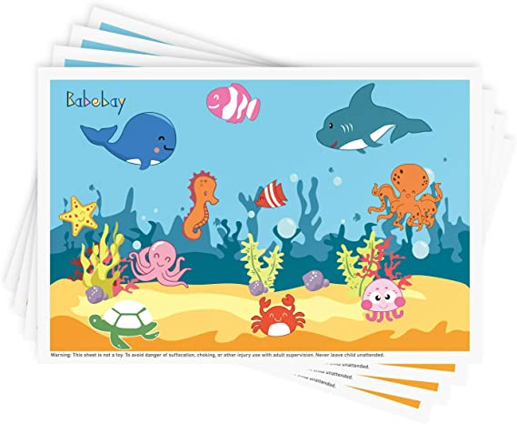 Disposable Stick-on Placemats 40 Pack for Baby & Kids Table Topper Disposable