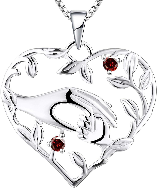 YL Collar de mamá Plata de ley 925 Mamá sostenga la mano del niño Colgante Collar Regalos para mamá