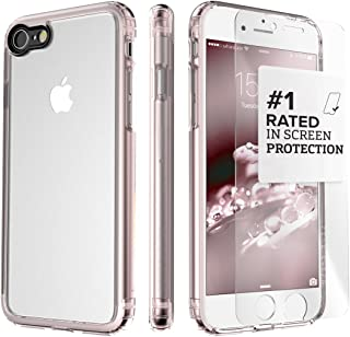 iPhone 8 and 7 Case, SaharaCase Clear Protective Kit Bundled with [ZeroDamage Tempered Glass Screen Protector] Rugged Slim Fit Shockproof Bumper [Hard PC Back] Protection – Rose Gold
