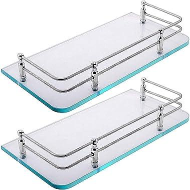 Klaxon Premium Transparent Glass Shelf for Bathroom/Wall Shelf/Storage Shelf (12x6 Inches - Pack of 2)