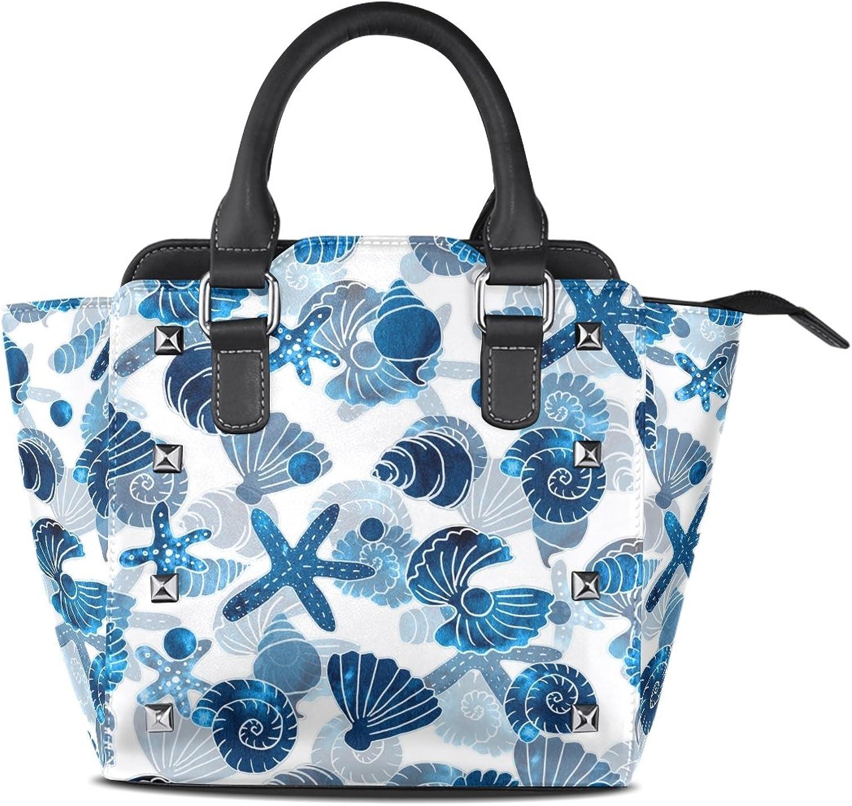 My Little Nest Women's Top Handle Satchel Handbag Watercolor Shells Sea Pattern Ladies PU Leather Shoulder Bag Crossbody Bag